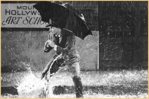 Gene Kelly singing in the rain, or not